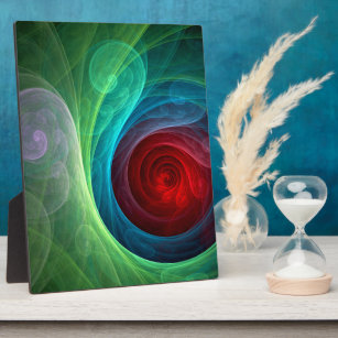 Red Storm Abstract Art Plaque