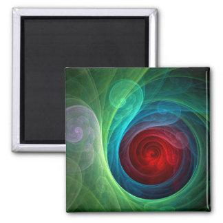 Red Storm Abstract Art Square Magnet