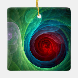 Red Storm Abstract Art Square Ornament