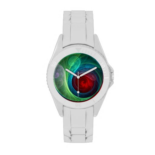 Red Storm Abstract Art Watch