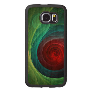 Red Storm Abstract Art Wood Phone Case
