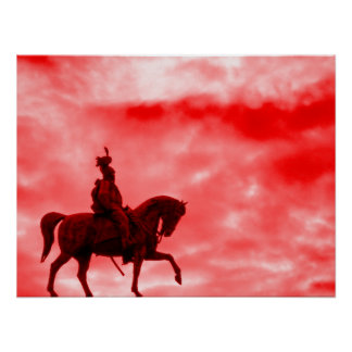 Red Storm Sky Horse and Soldier Print Poster