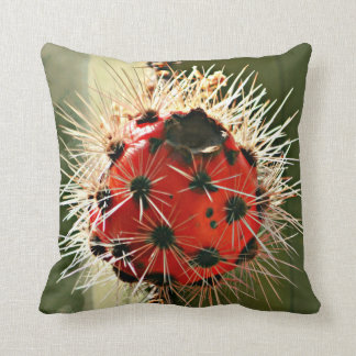 Red Stove Pipe Cactus Bulb Throw Pillow
