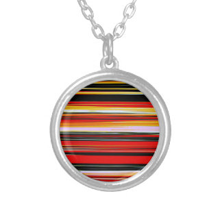 RED STRATA (an abstract art design) ~ Round Pendant Necklace
