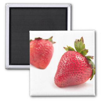 Red Strawberries 2 Inch Square Magnet
