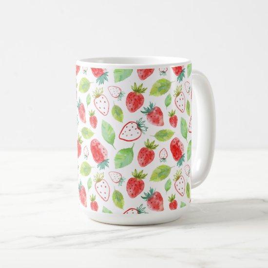 Red Strawberries and Green Leaves Coffee Coffee Mug