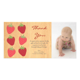Red Strawberries Baby Thank You Photo Card