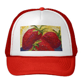 Red Strawberries Fruit Painting Mesh Hats