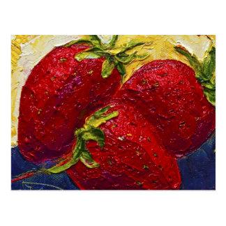 Red Strawberries Fruit Painting Postcard
