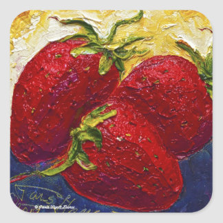 Red Strawberries Fruit Painting Square Sticker