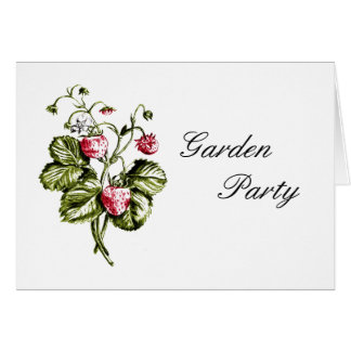 Red strawberries GARADEN PARTY INVITATION Greeting Card