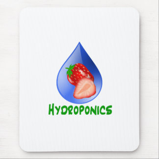 Red Strawberries Green text blue drop hydroponics Mouse Pad
