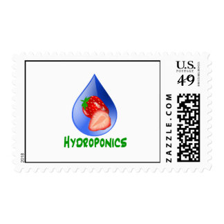 Red Strawberries Green text blue drop hydroponics Stamps