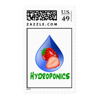 Red Strawberries Green text blue drop hydroponics Postage Stamps