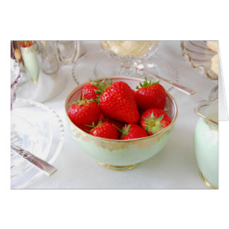 Red Strawberries in Vintage Bowl. Card