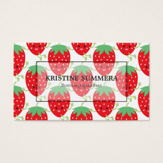 Red Strawberries Kawaii Business Card