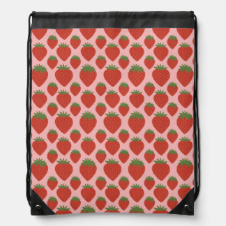 Red Strawberries on Pink Cinch Bag