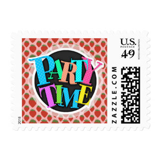 Red Strawberries on Pink Postage Stamps