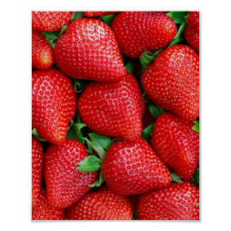 Red Strawberries Pattern Design Poster