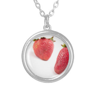 Red Strawberries Round Pendant Necklace