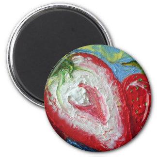 Red Strawberry 2 Inch Round Magnet