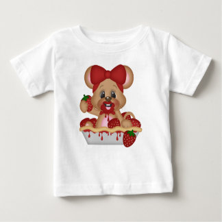 Red Strawberry Berry Pie Happy Girl Mouse Eating Baby T-Shirt