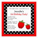 Red Strawberry Birthday Black & White Polka Dots Custom Invite