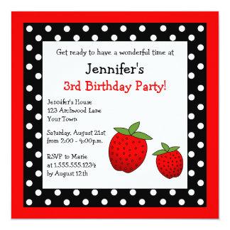 Red Strawberry Birthday Black & White Polka Dots Invitation