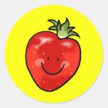 Red strawberry classic round sticker