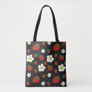 Red Strawberry Dots in Black Tote Bag