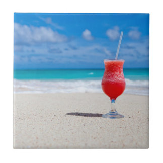 Red Strawberry Drink on the Sandy Beach Ceramic Tile
