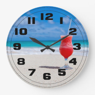 Red Strawberry Drink on the Sandy Beach Large Clock