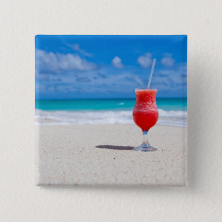 Red Strawberry Drink on the Sandy Beach Pinback Button