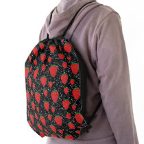Red Strawberry Fruit Lovers Sweet Berries Elegant Drawstring Bag