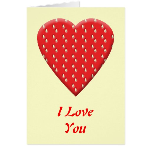 Red Strawberry Heart. Greeting Card