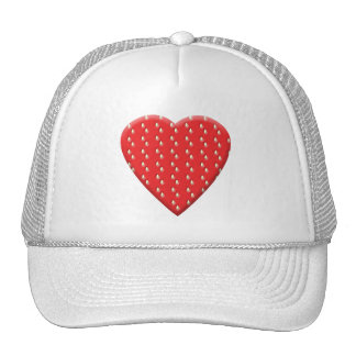 Red Strawberry Heart. Mesh Hat