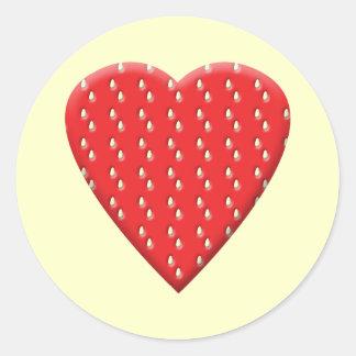 Red Strawberry Heart. Round Sticker