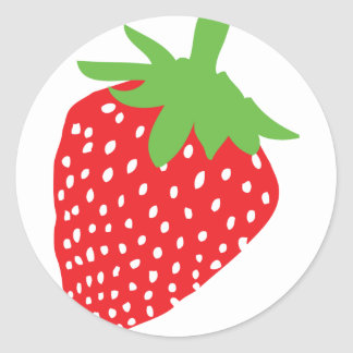 red strawberry icon classic round sticker