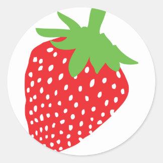 red strawberry icon classic round sticker