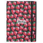 "Red strawberry on  black background iPad pro 12.9"" case"
