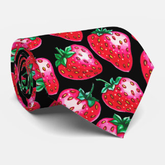 Red Strawberry on black background Neck Tie