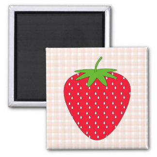 Red Strawberry on Gingham Check. 2 Inch Square Magnet