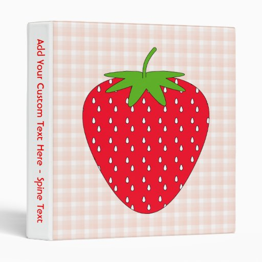 Red Strawberry on Gingham Check. 3 Ring Binder