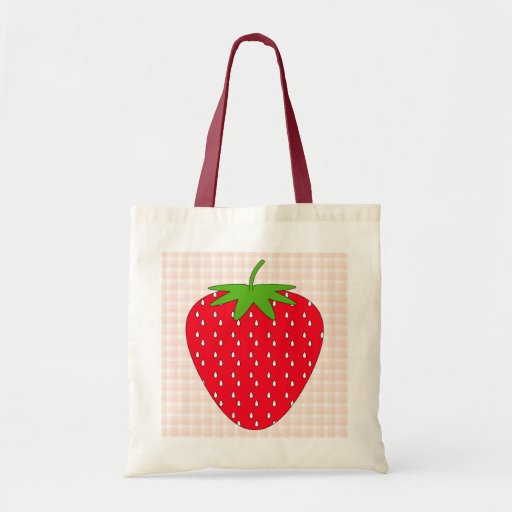 Red Strawberry on Gingham Check. Canvas Bags