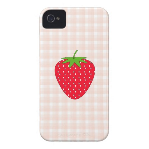 Red Strawberry on Gingham Check. iPhone 4 Cover