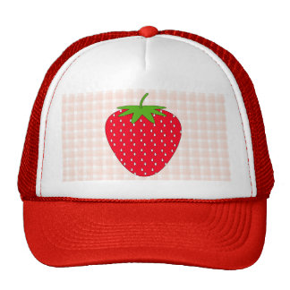 Red Strawberry on Gingham Check. Trucker Hat