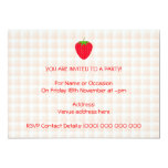 Red Strawberry on Gingham Check. 5x7 Paper Invitation Card