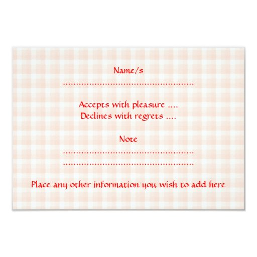 """Red Strawberry on Gingham Check. 3.5"""" X 5"""" Invitation Card"""