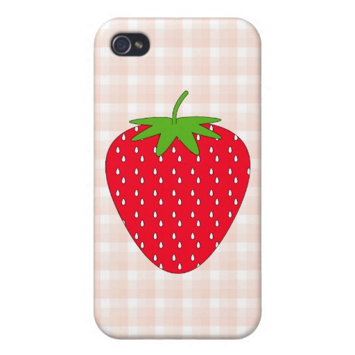 Red Strawberry on Gingham Check. iPhone 4 Case