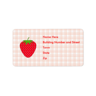 Red Strawberry on Gingham Check. Label